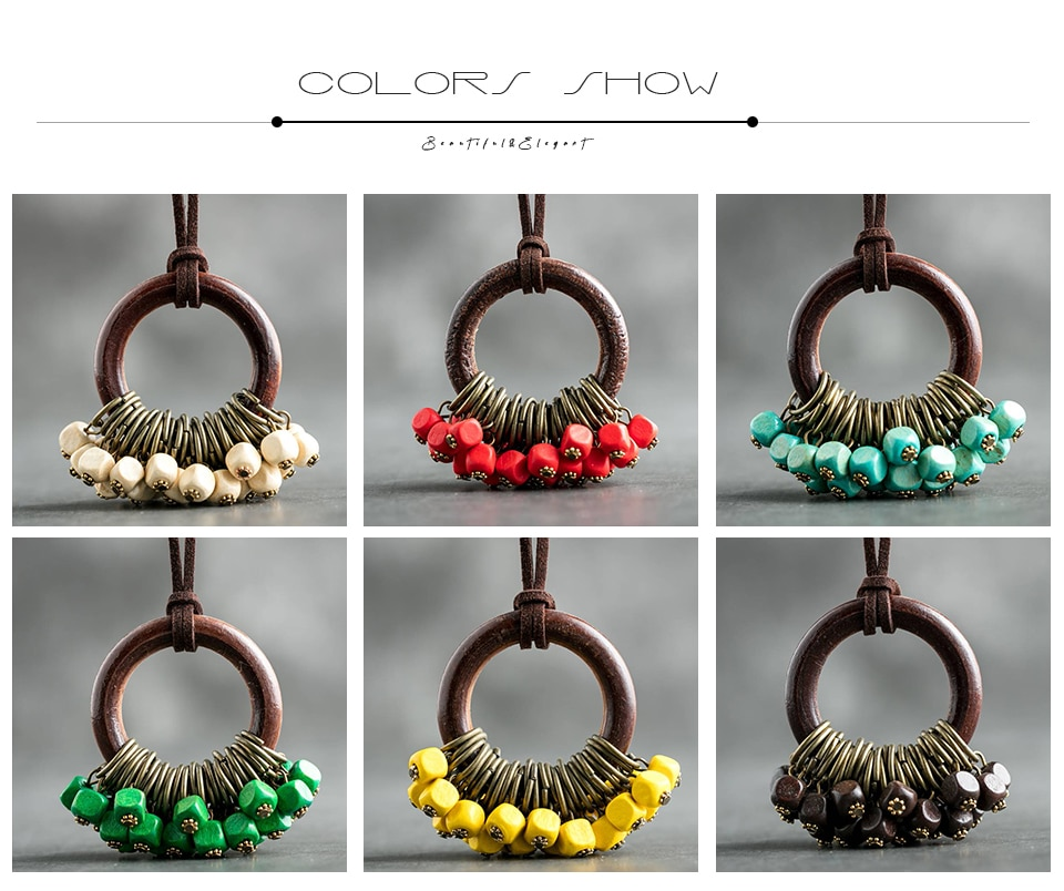 Long Necklaces Vintage Wood Beads Rope Chain Bohemian Necklace Lady Handmade Clothes Accessories Fashion Jewelry Neck Decoration