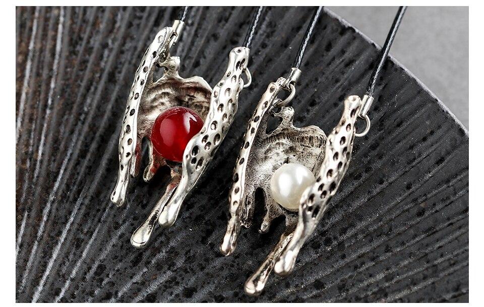 Resin Beads Statement Necklaces Vintage Silver Color Pendants Wholesale Unicorn Suspension Fashion Jewlery For Women Accessories