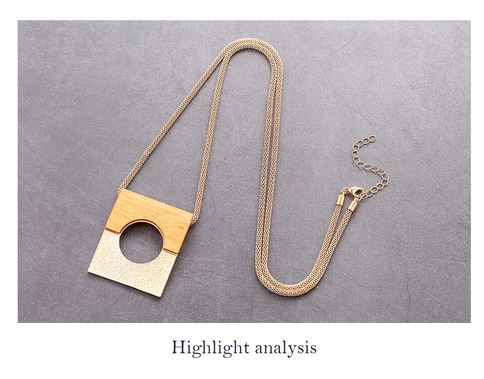 Vintage Gold Silver Color Square Long Chain Necklace For Women's Jewelry 2020 Female Accessories Suspension Decoration Pendants
