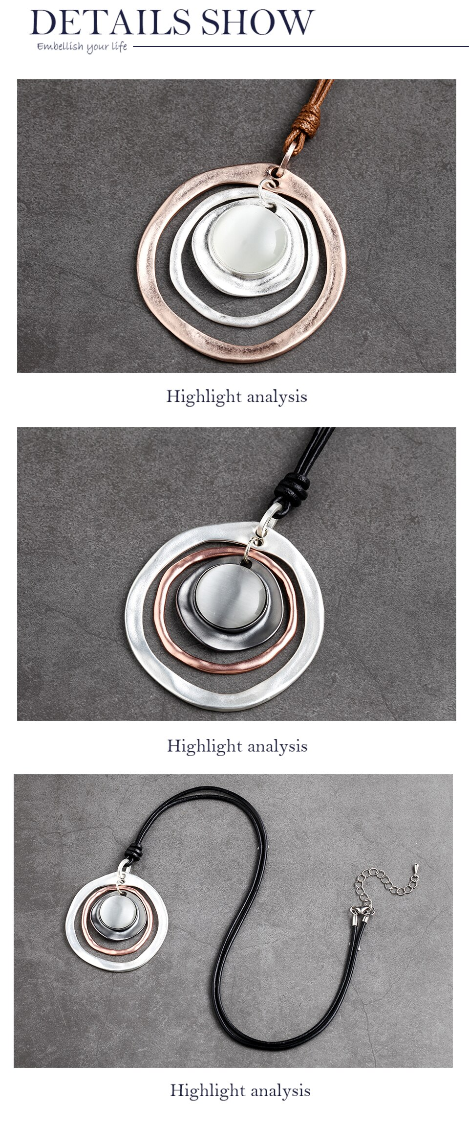 Round Rope Chain Necklace Zinc Alloy 2 Color Pendant Vintage Jewelry Necklaces Handmade Clothes Accessories Fashion Jewelry 2020