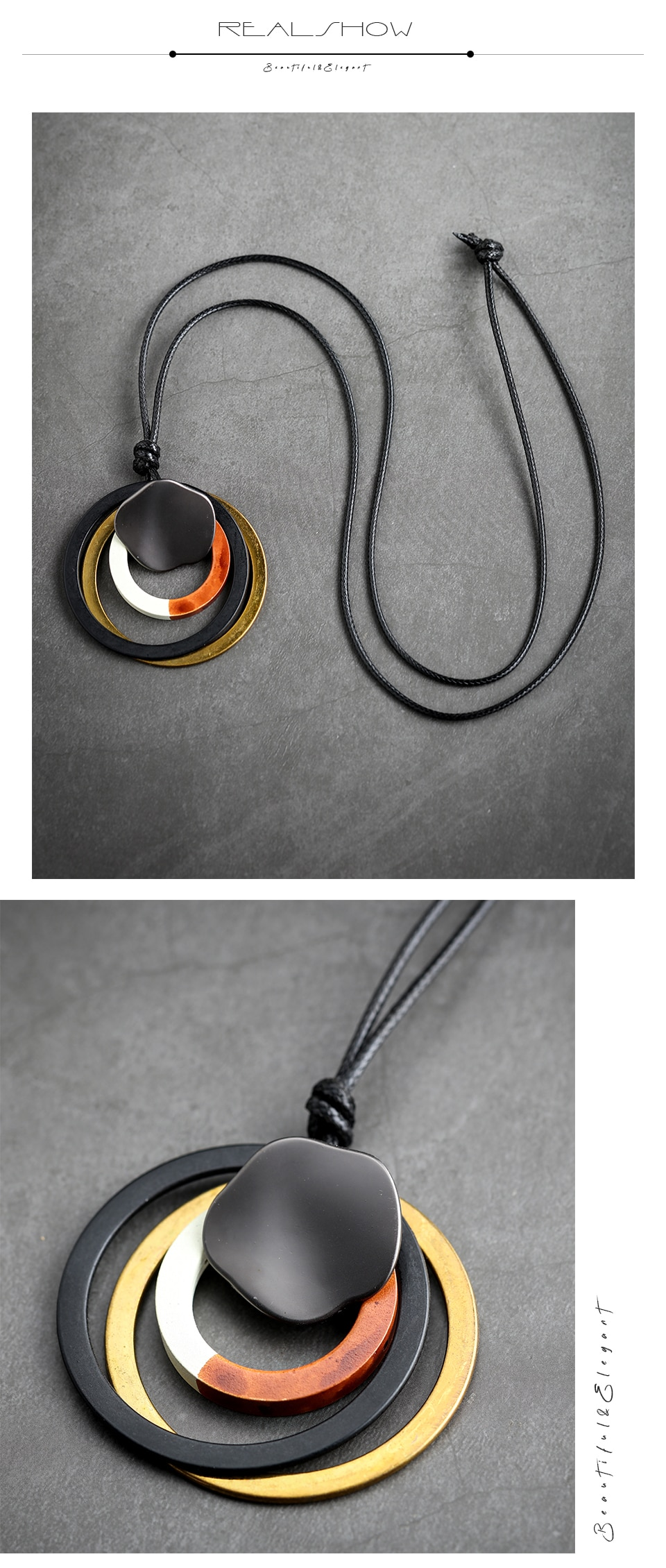 Vintage Circle Pendants for Women Long Necklace Statement Suspension Jewellery Chokers necklaces & pendants Alloy Jewelry 2020