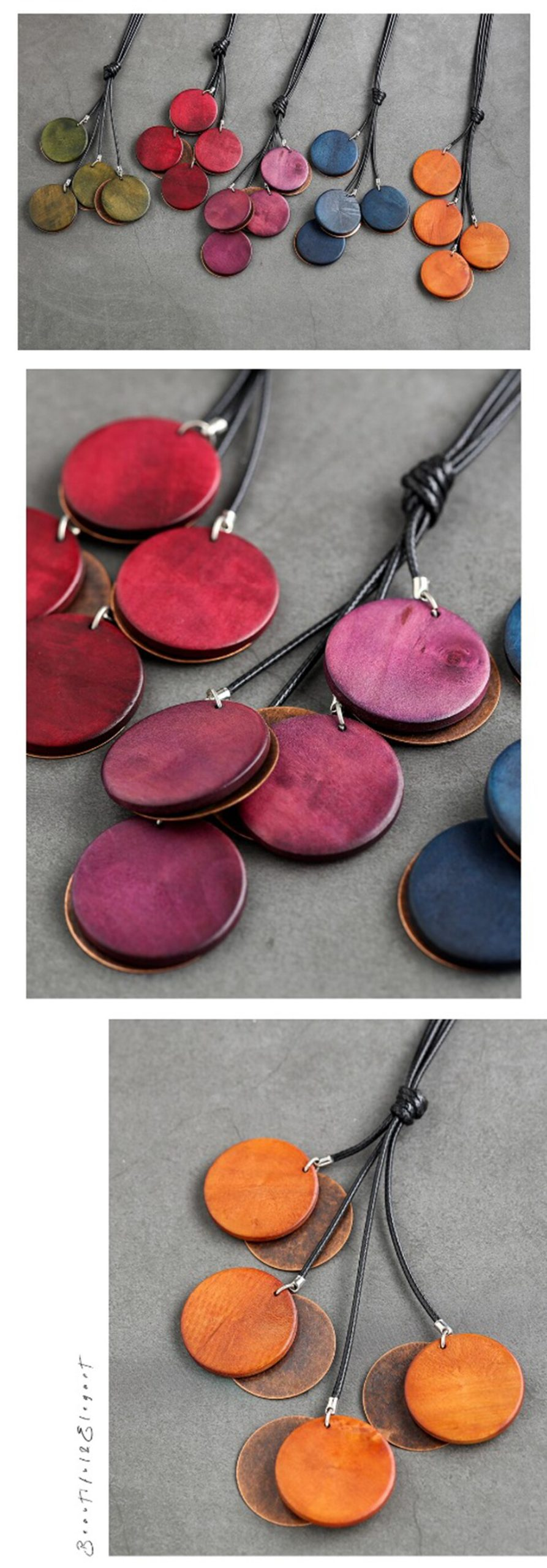 Vintage Wood Necklace Jewelry for Women Fashion Long Rope Chain Best Friends Pendant Female Handmade necklaces & pendants 2020