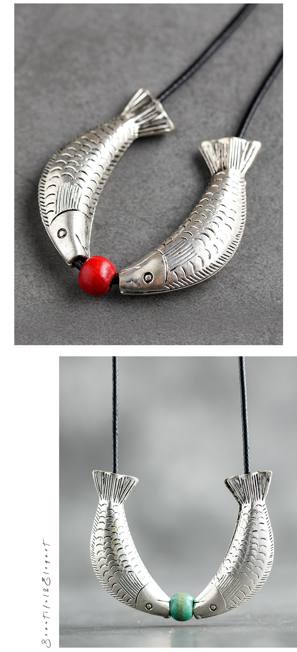 2020 Pendant & Necklaces For Women Wood Beads Fish Pendant Sweater Rope Chain Necklaces Jewelry Handmade New Clothes Accessories