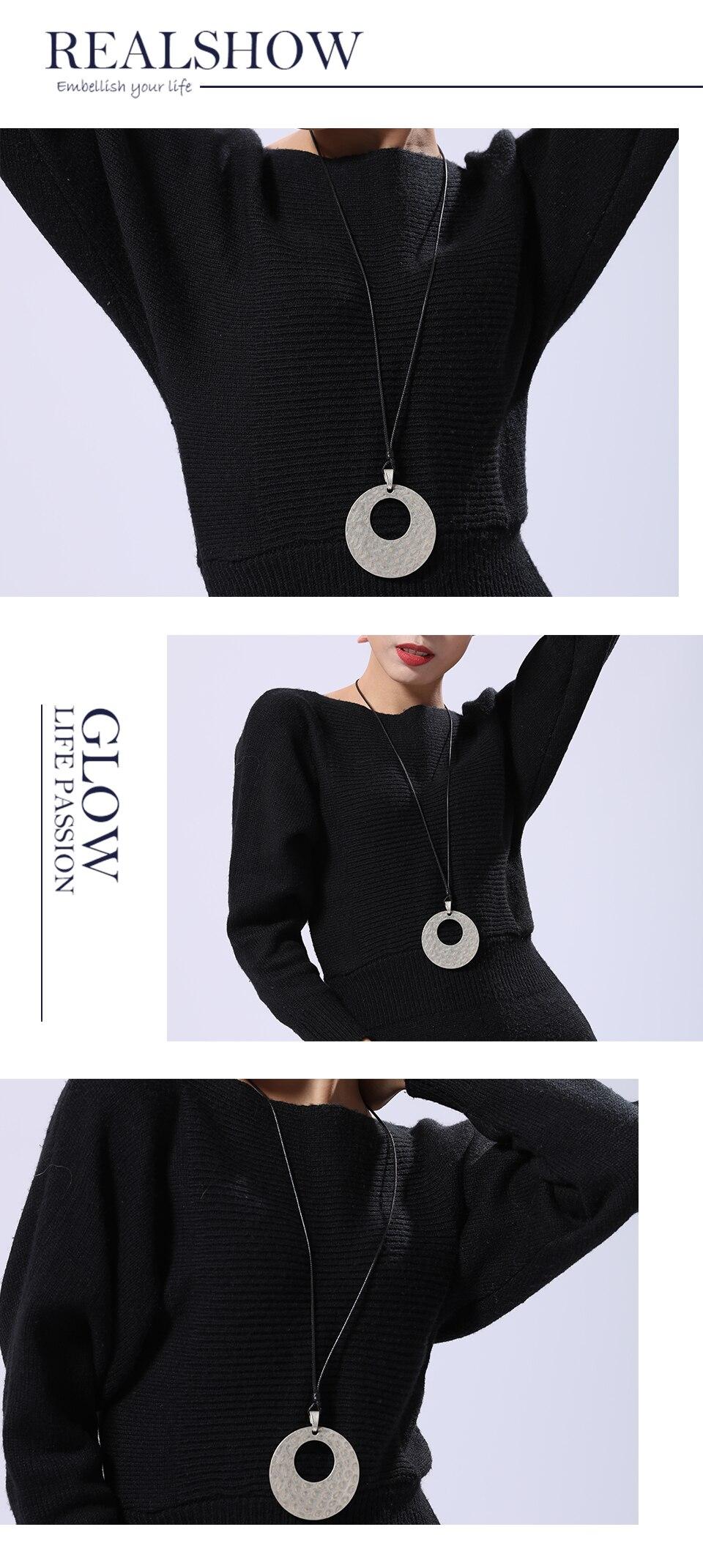 Big Circle Long Necklace for Women Fashion Jewelry necklaces & pendants Unicorn Necklace Vintage Zinc Alloy Jewellery Suspension