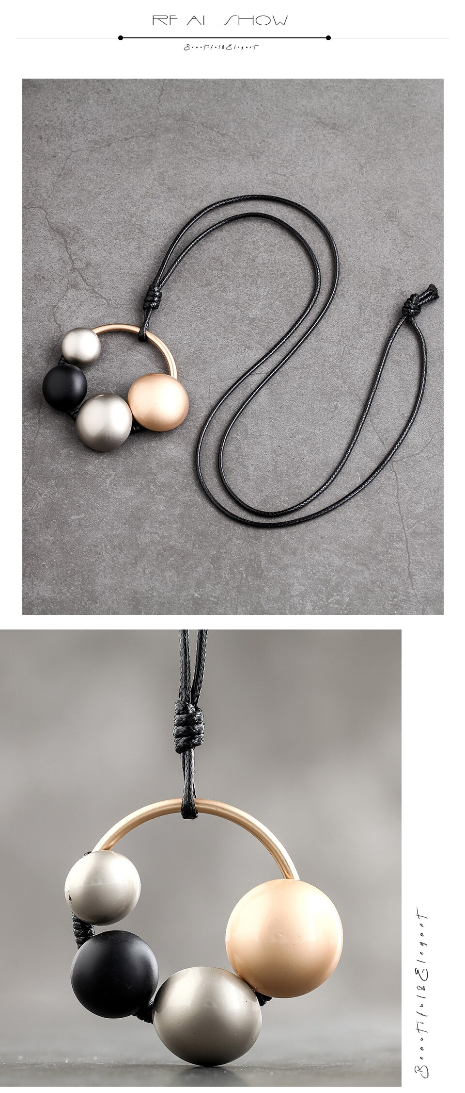 Hollow Ball Pendants Necklace Rope Chain Collier Suspension Statement Necklace Festival Present Jewelry For Women Accessories