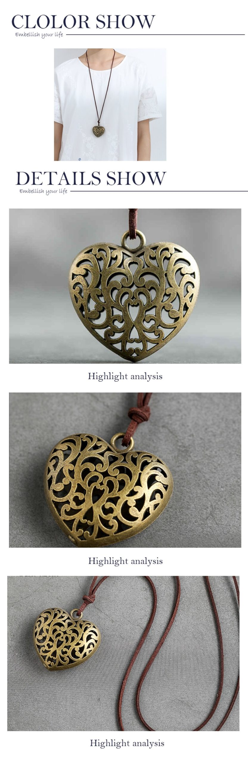 Vintage Jewelry for Women Long Necklace Bronze Big Heart Love Pendant Rope Chain Jewellery Alloy Suspension Wholesale Chokers