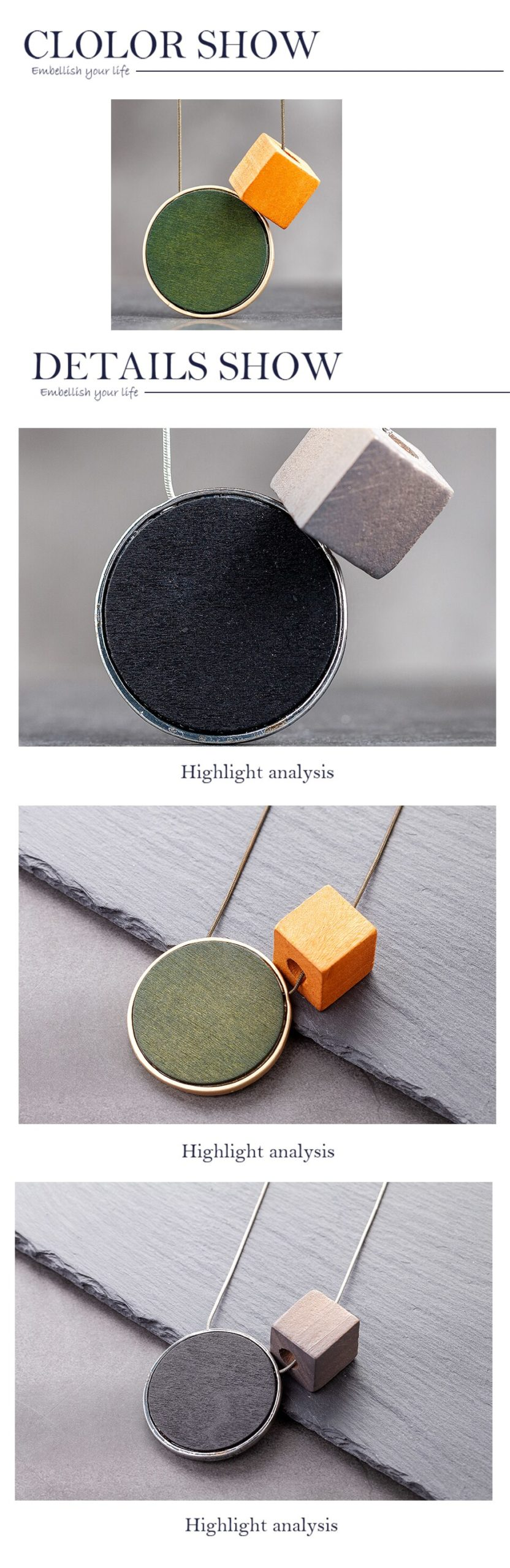 Colored Wooden Vintage Round Accessories Female Pendant Women Jewelry On The Neck Decoration Statement Suspension Necklaces 2020