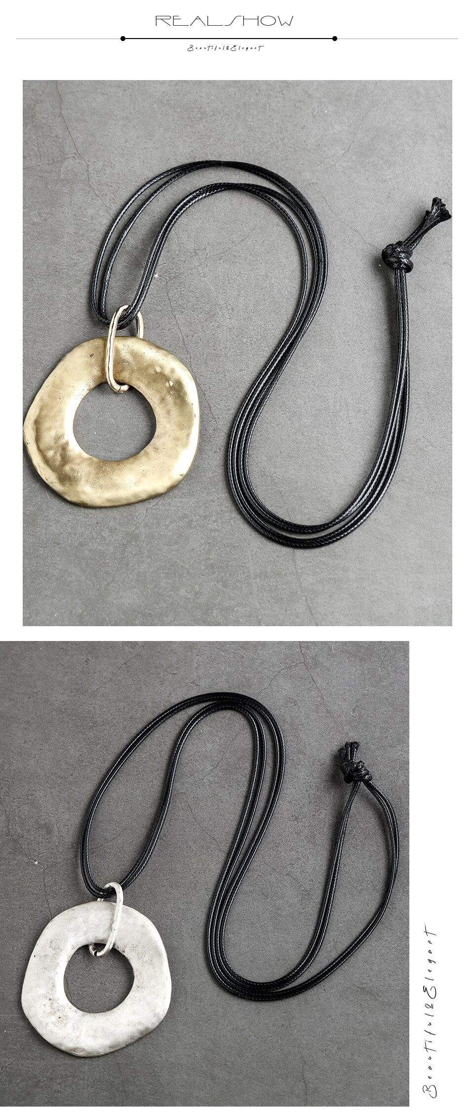 Big Chain Necklace Jewelry Geometric Statement Suspension Handmade Pendant Rope Metal Vintage Unisex Sweater Clothes Accessories
