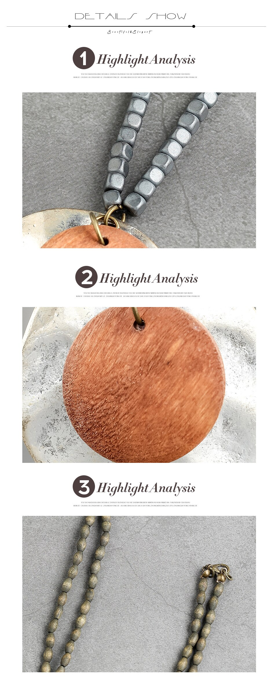 Wooden Bead Rope Necklaces & Pendants Geometric Vintage Sweater Wooden Collar Necklace Handmade Fashion Jewelry Necklace Elegant