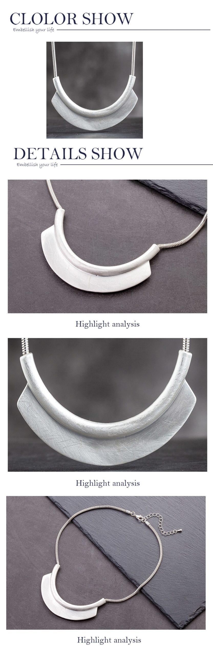 Women's Silver Color Geometric Large Massive Neck Chokers Necklace Simple Fashion Jewelry Pendants Female Suspension Accessories