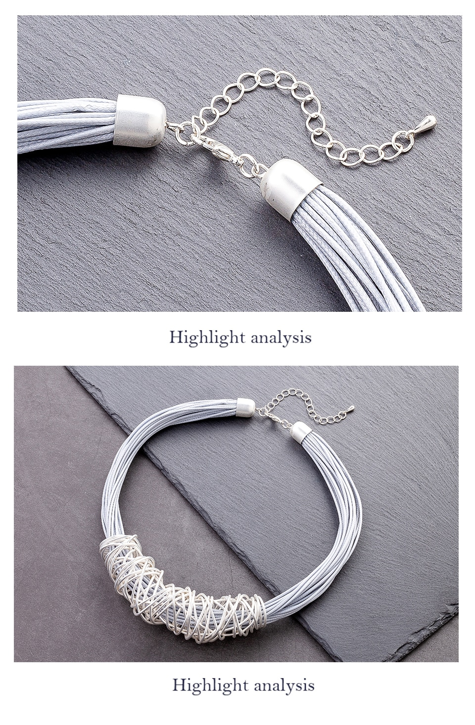 Trendy Chokers Rope Chain Silver Color Simple Neckcklaces Gifts On The Neck For Women's Jewelry  Suspension Decoration Pendants