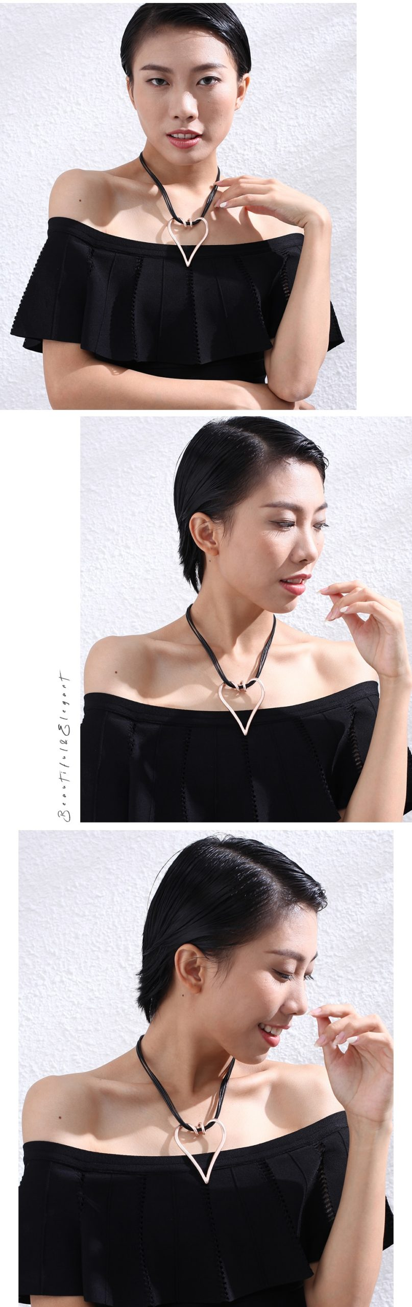 Rose Gold Heart Choker Necklace Jewelry On The Neck Decoration For Women's Simple Statement Suspension Pendants Accessories Gift