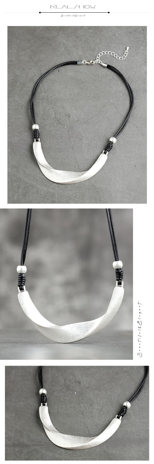 Metal Necklaces Vintage Women Chain Simple Necklace Handmade Fashion Jewelry Adjustable Necklace Woman Accessories 10.5*10cm