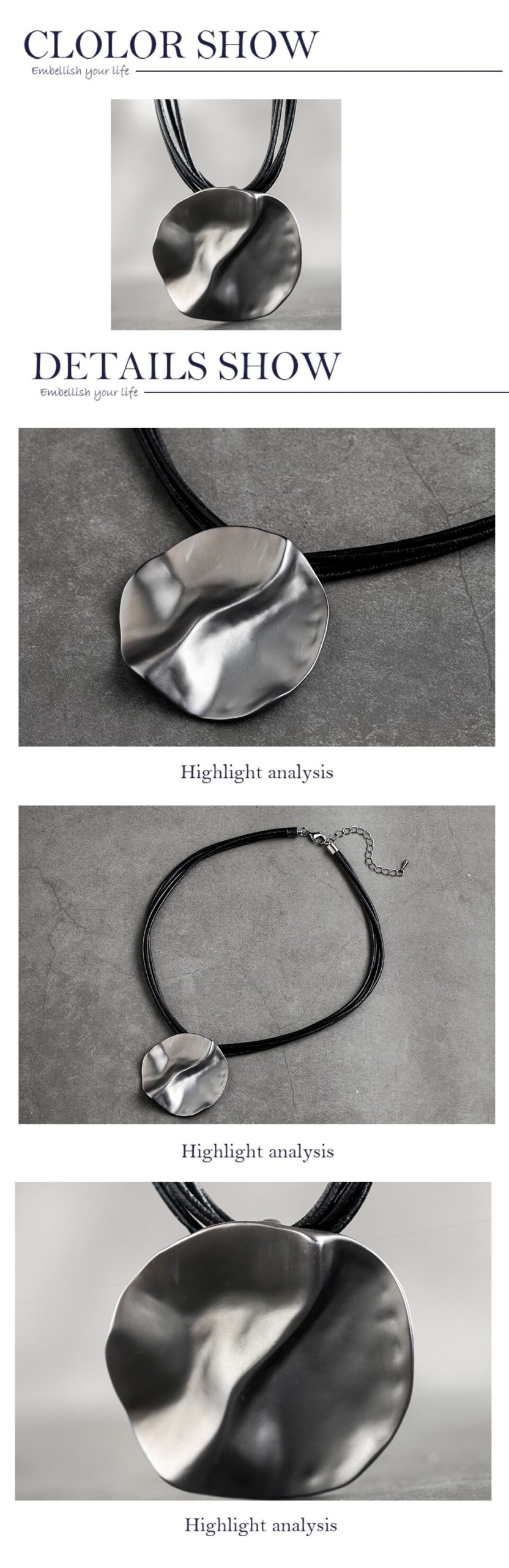 2019 Chain Metal Necklaces Adjustable Zinc Alloy Leather Rope Necklace Women Jewelry Round Pendant Necklaces Christmas Prensent