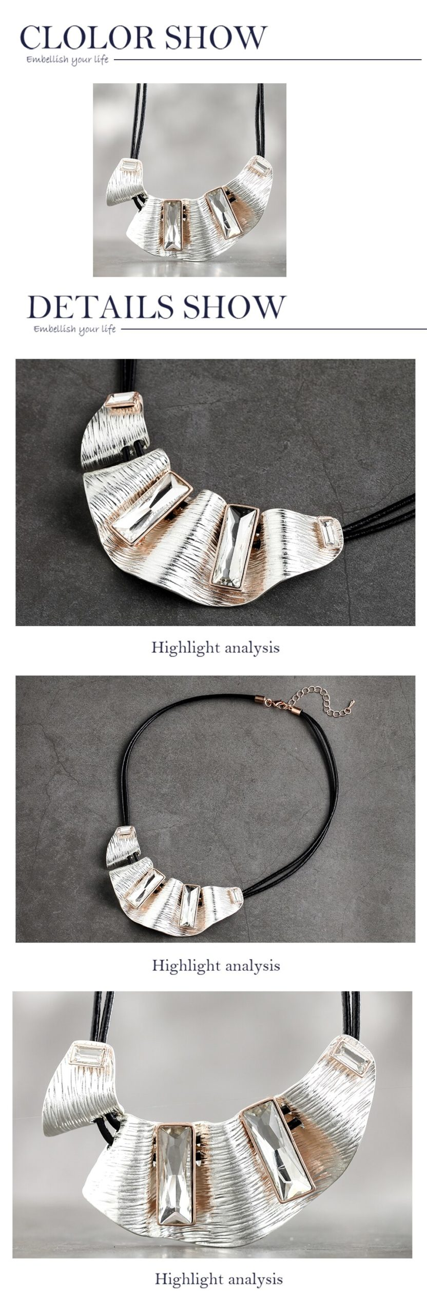Statement Jewelry for Women Chunky Leather Choker Necklaces Geometric Vintage Big Pendant Chain Collar Wholesale 2020 Hotsale