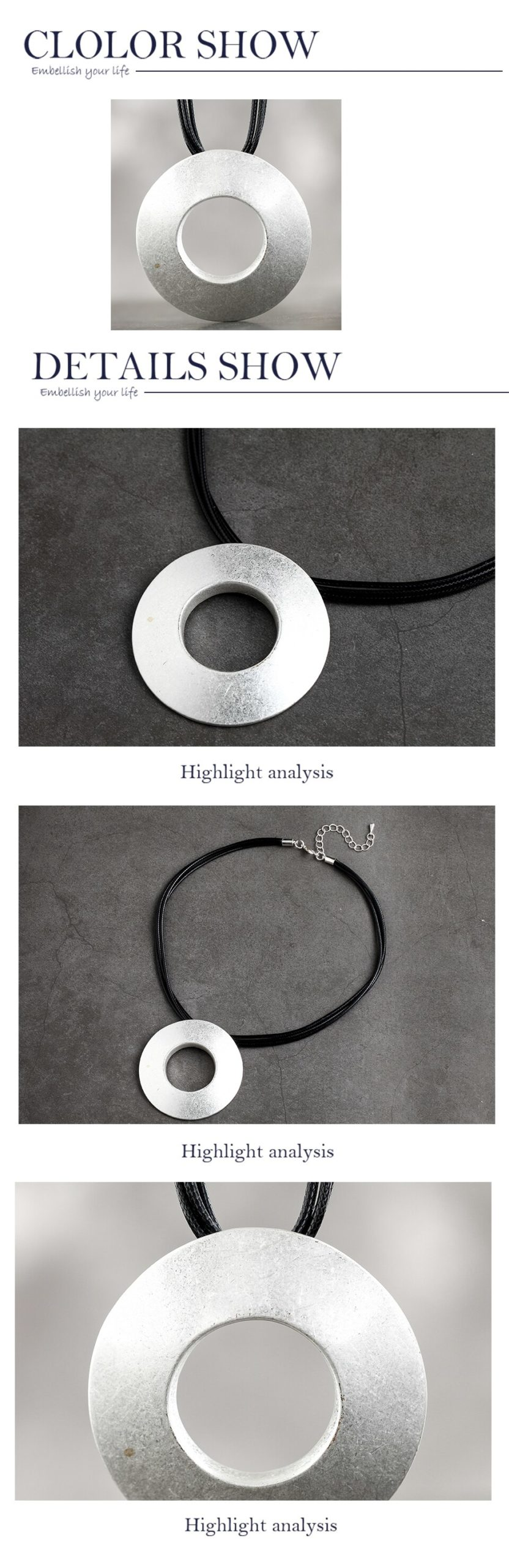 2020 Silver Color Round Pendants Choker Necklaces Rope Chain For Women Accessories Simple Handmade Jewelry Suspension Decoration