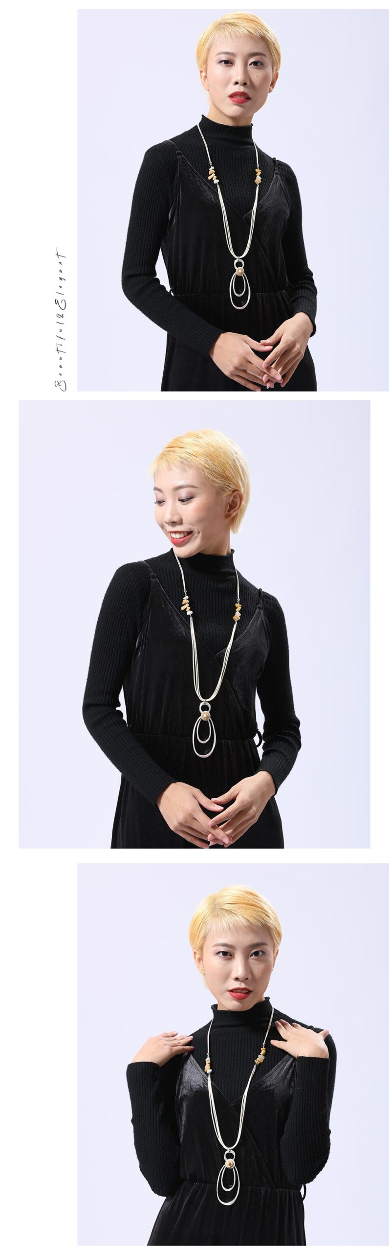 Silver Color Pendants Necklace Leather Long Chain Suspension Statement Decoration Fashion Jewelry Gifts For Women Accessories