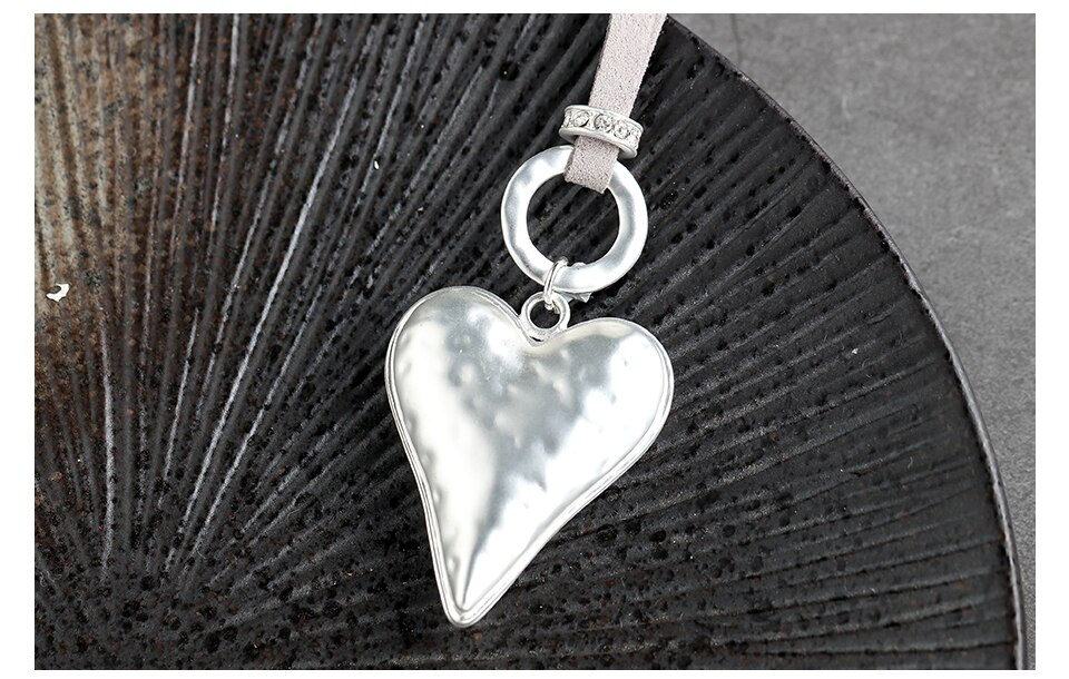 Love Heart Pendant Long Necklace for Women Silver Color Rope Chain Female Jewelry Sweater Cloth Accessories Neck Decoration 2020