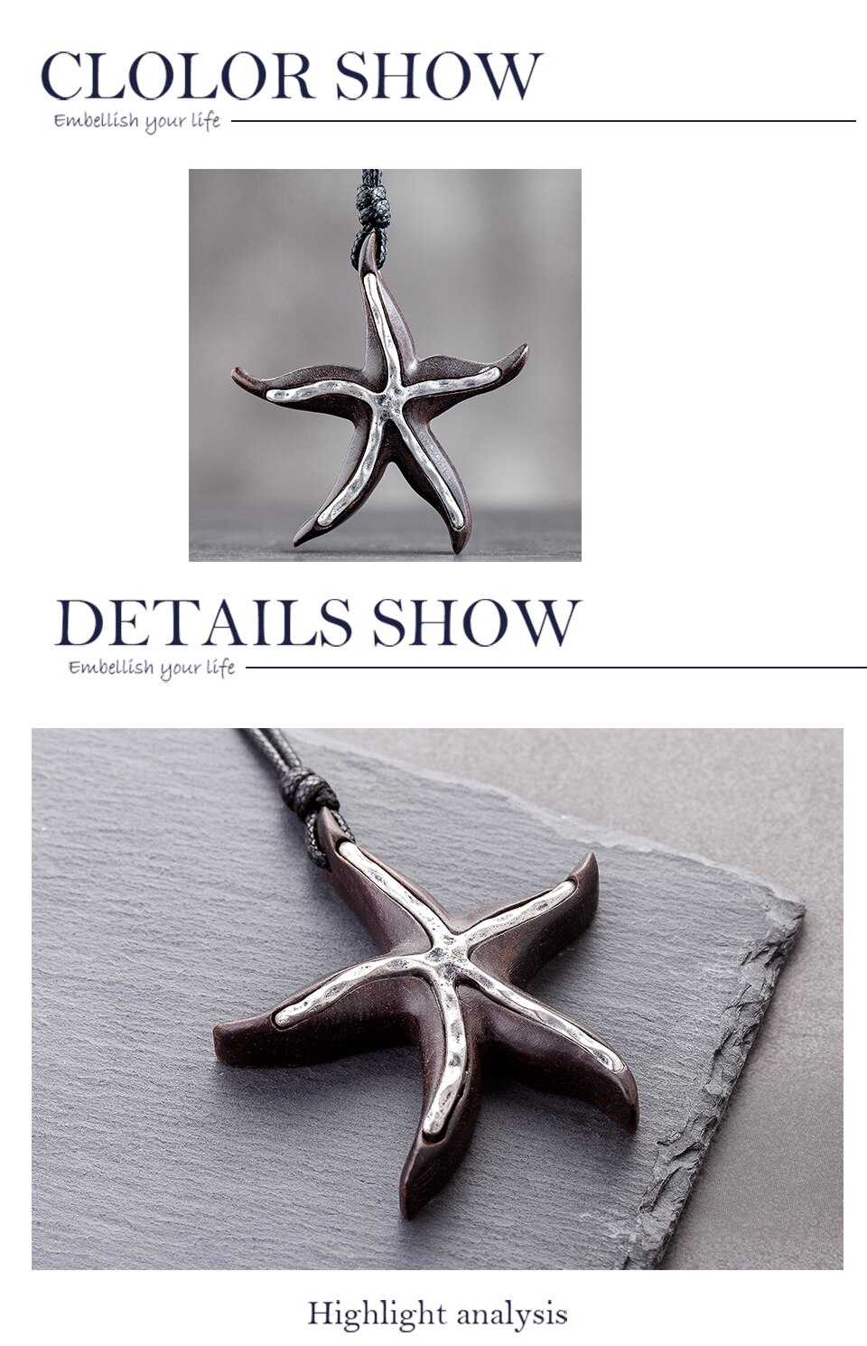 Vintage Jewelry Long Necklace for Women Accessories Neckless Choker Handmade Black Sandalwood Starfish Pendant Hotsale 2020 New