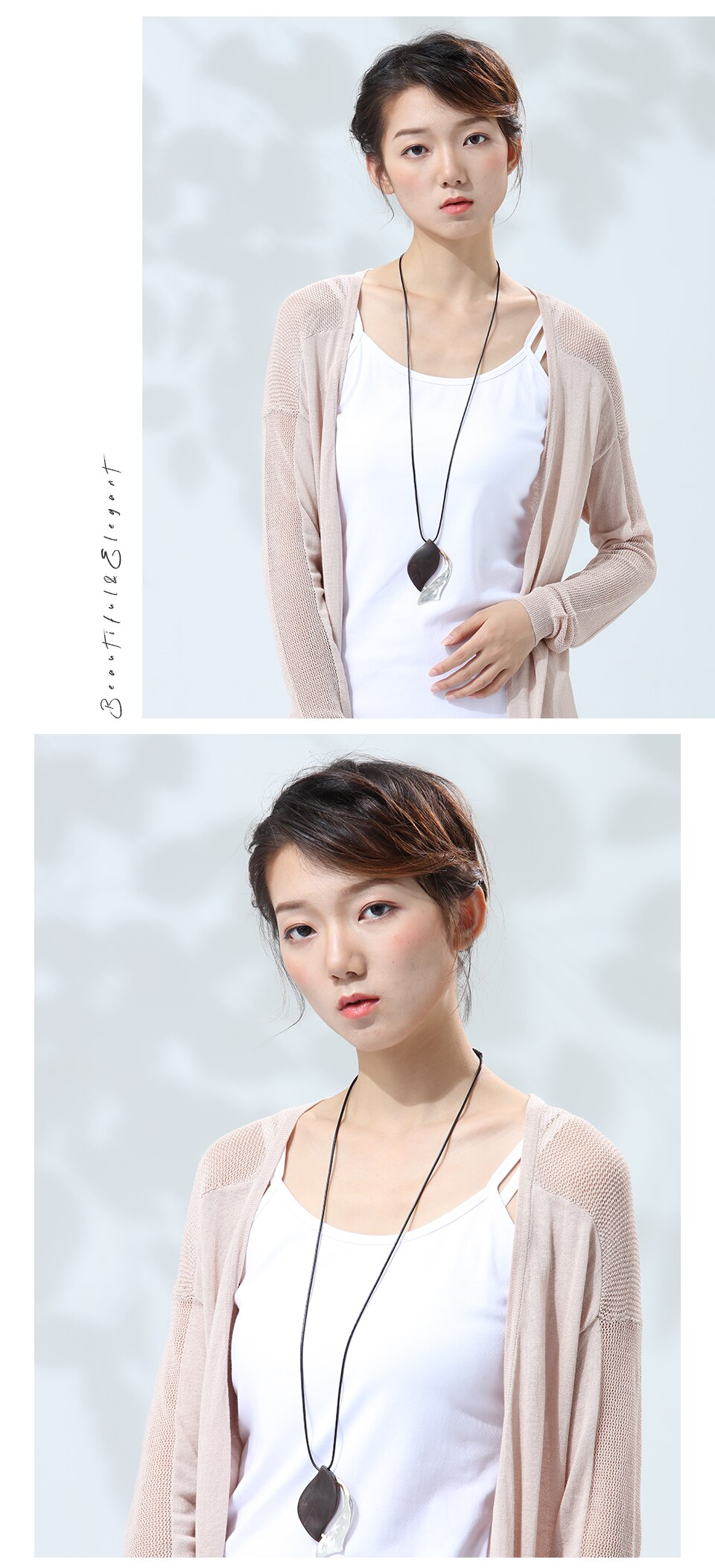 Women Pendant Necklaces New Fashion Vintage Sandalwood Sweater Chain for Wooden Handmade Jewelry Unique Big Pendant Female Gift