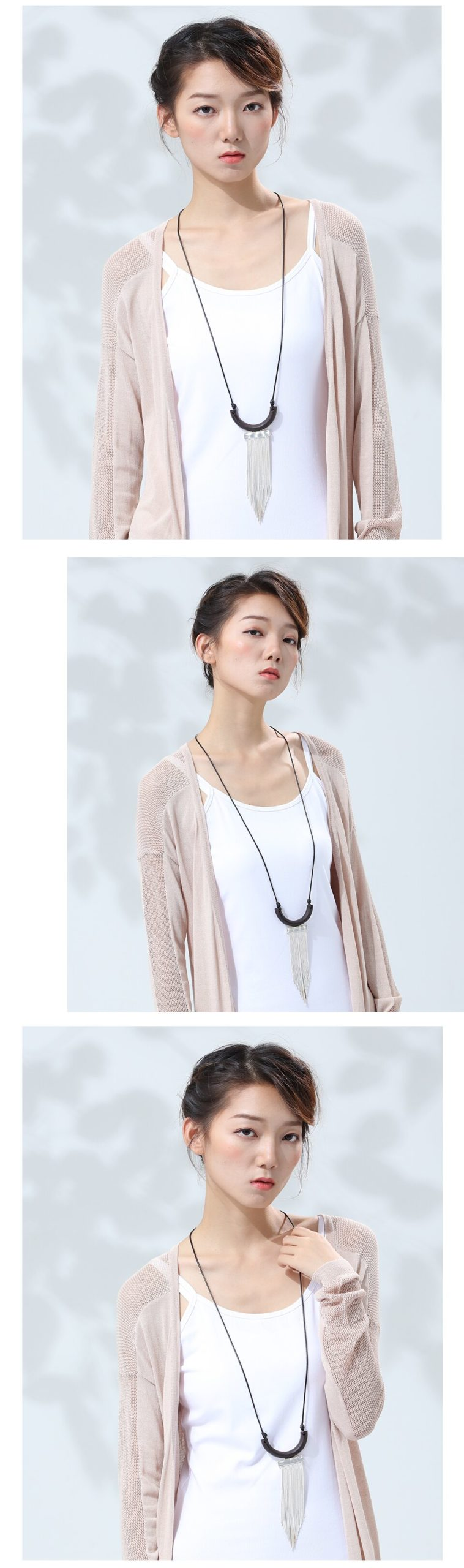 Kinds Handmade Sandalwood Women Pendant & Necklaces Rope Sweater Chain Wooden Necklace Women Fashion Jewelry Wholesale Present