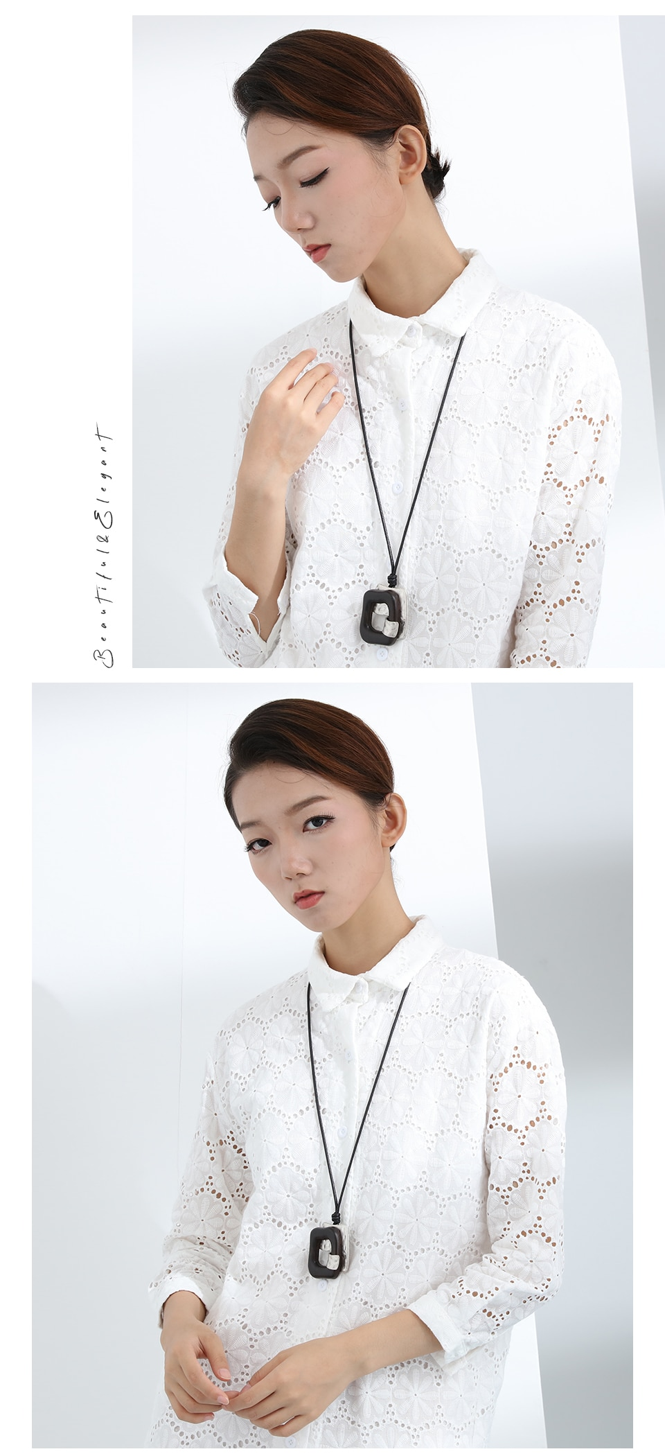 Hyperbole Pendant&Necklaces for Female Adjustable Wood Pendant Handmade Necklace Necklace Sweater Rope Chain Women Jewelry