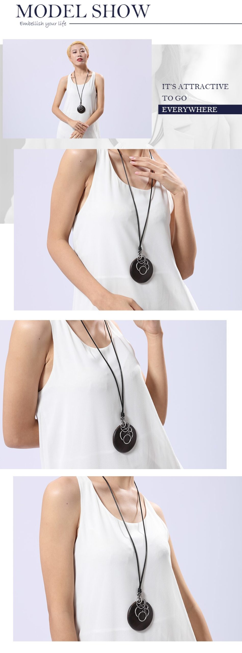 Simple Vintage Women Pendants & Necklaces Wooden Handmade Sandalwood Necklaces Sweater Rope Chain Women New Jewelry Accessories