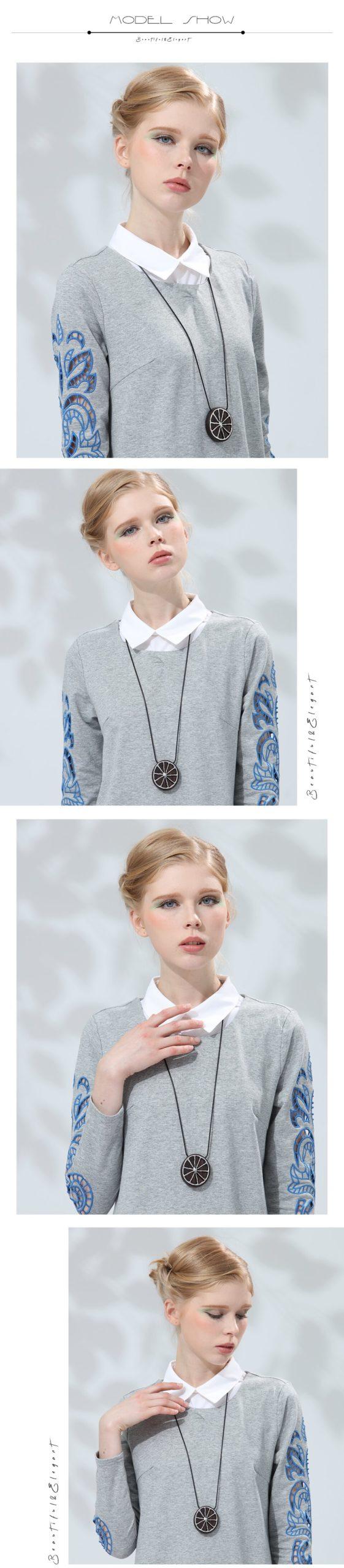 Necklace for Women Lemon Shape Wooden Pendant & Necklaces Handmade Sandalwood Vintage Long Sweater Chain Jewelry Fashion Pendant