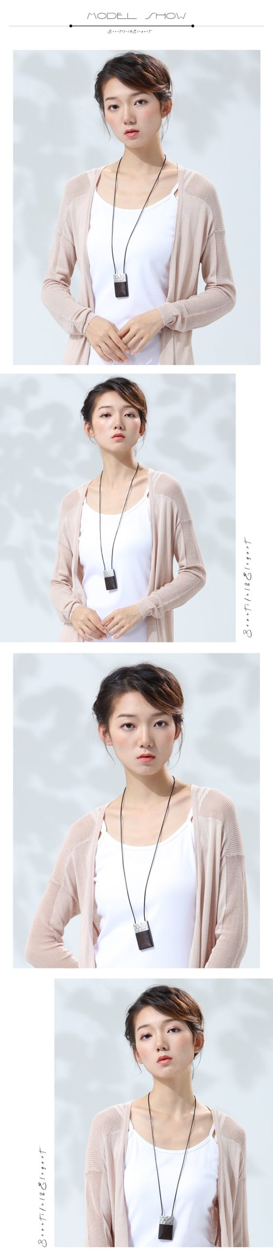 Vintage Pendants Necklaces Fashion Jewelry For Women Handmade Rectangle Sandalwood Long Female Necklace Girl Rope Sweater Chain