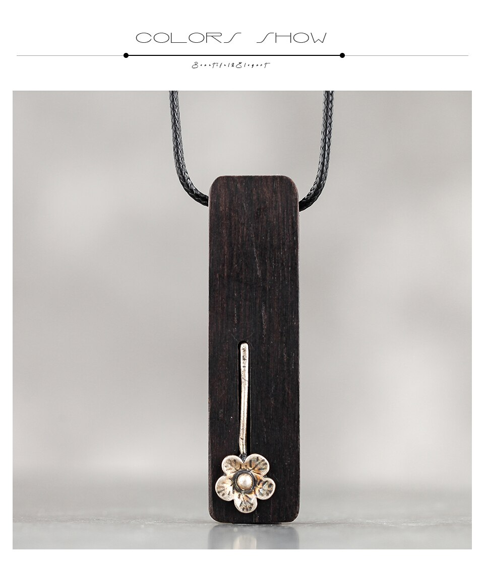 Handmade Pendant Wood Women Chain Wooden Pendant&Necklaces Unique Flower Female Necklace New Fashion Christmas Jewelry For Gift