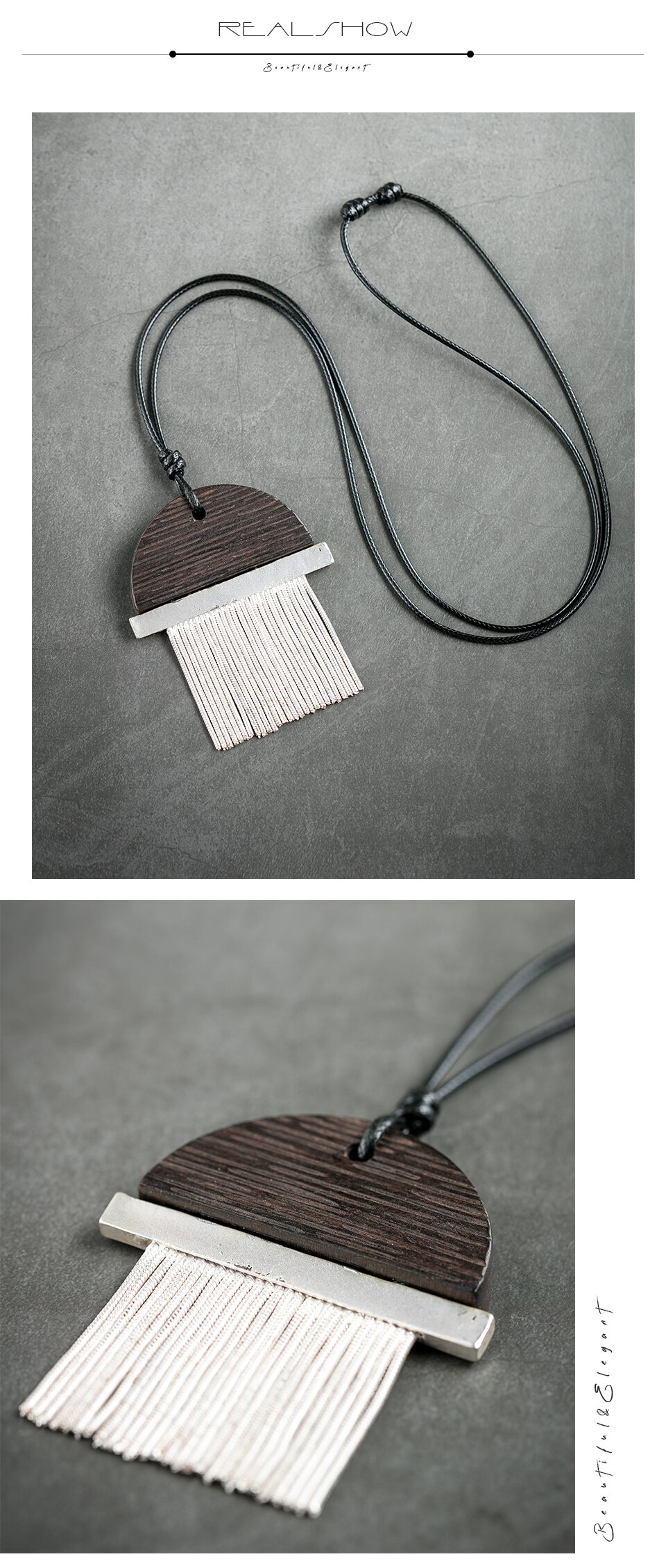 New Silver Plated Women's Pendant Necklace Vintage Sandalwood Sweater Chain for Jewelry Handmade Female Girl Unique Big Pendant