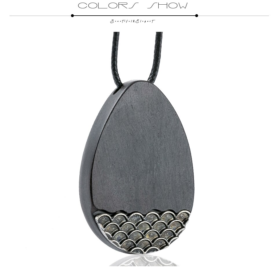 2020 Popular Pendant Necklaces for Women Wooden Handmade Sandalwood Necklace Sweater Rope Chain Fashion Jewelry Gift for Friends