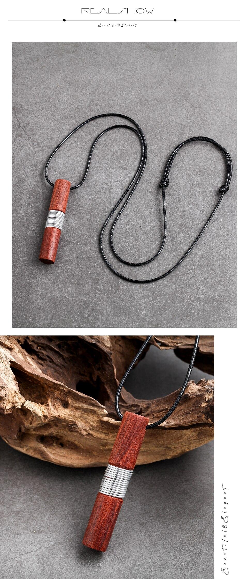 Women Necklaces Zinc Alloy Handmade Red Sandalwood Pendant & Necklaces Sweater Chain Geometric Unique Pendant For Friends Gift