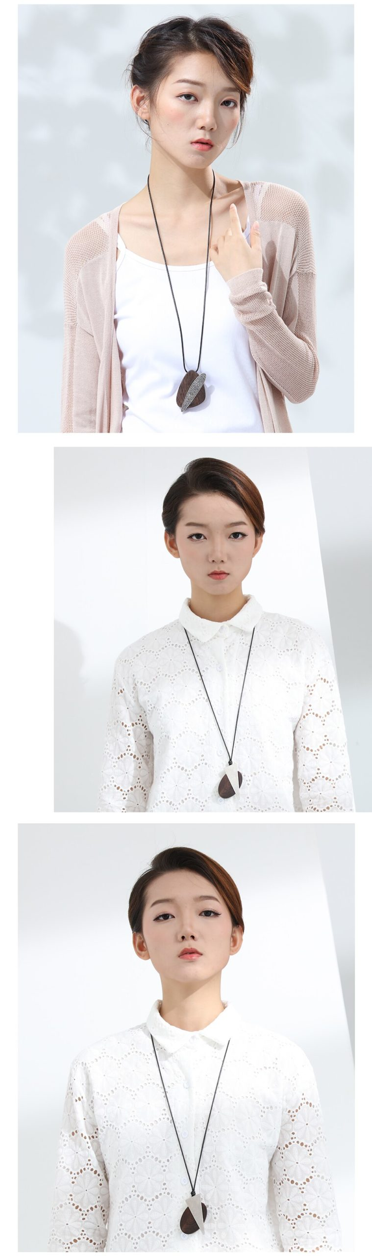 Handmade Unique Design Pendant Necklaces Vintage Sandalwood Women Sweater Chain Wooden Jewelry New Fashion Big Pendant Wholesale