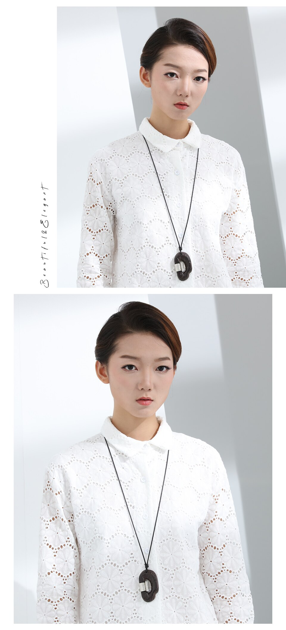 Vintage Handmade Sweater Accessories Wholesale Women Pendant Necklace Wooden Adjustable Sandalwood Jewelry for Female Decoration