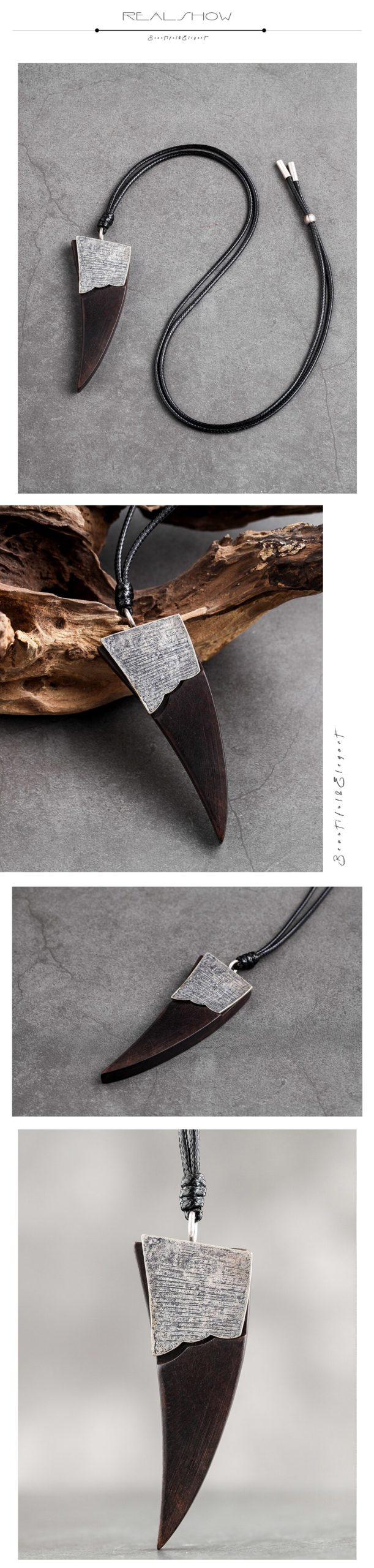 Geometric Triangle Pendant&Necklaces Vintage Jewelry Chain Sandalwood Wooden Necklace New Popular Decoration Gifts For Friends