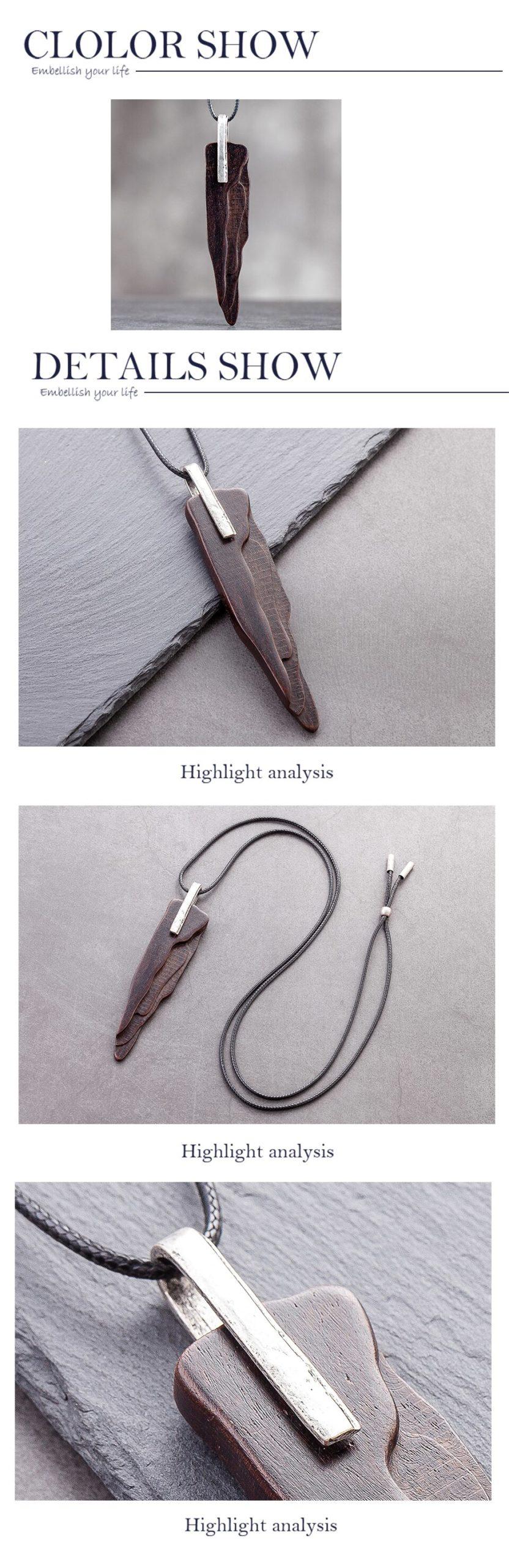 Handmade Sandalwood Fashion Jewelry Collar Neck Chocker Accessories Cute Jewlery Long Pendant Necklace Christmas Gifts for Women