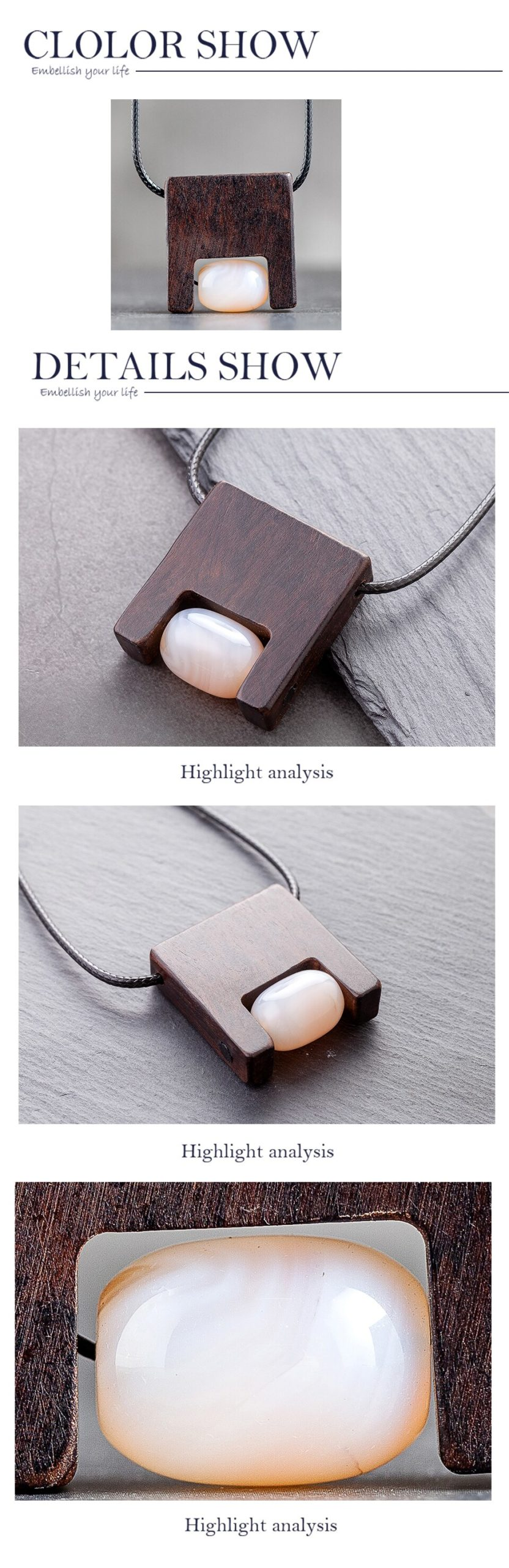 Geometric Nature Stone Women's Pendant Jewellery Vintage Celebrity Collar Neckless Long Necklace for Grandmother's Day Gifts Mom