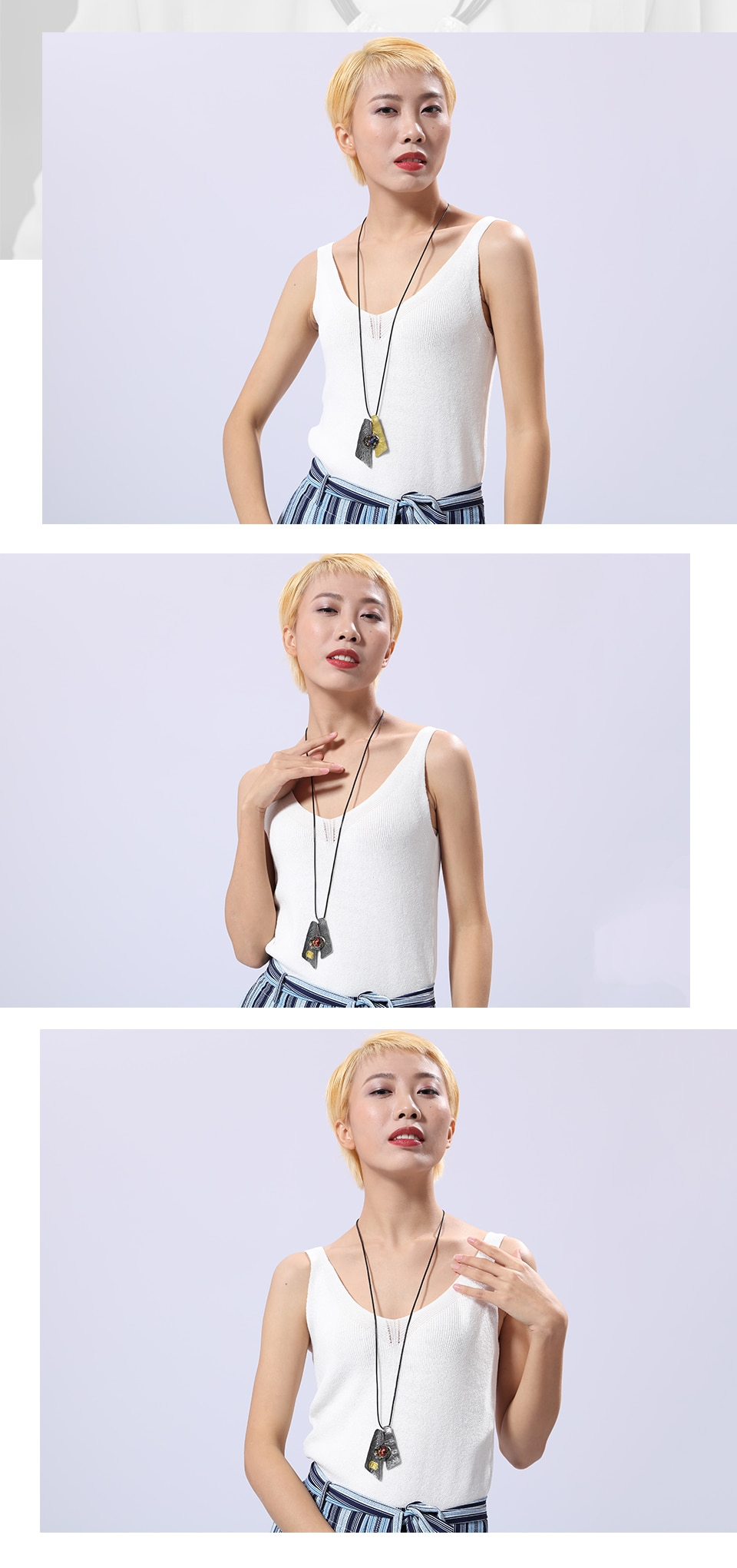 Vintage Long Necklace for Women Jewelry Pendants Colorful Natural Stone Rope Chain Accessories Zinc Alloy Fashion Wholesale 2020