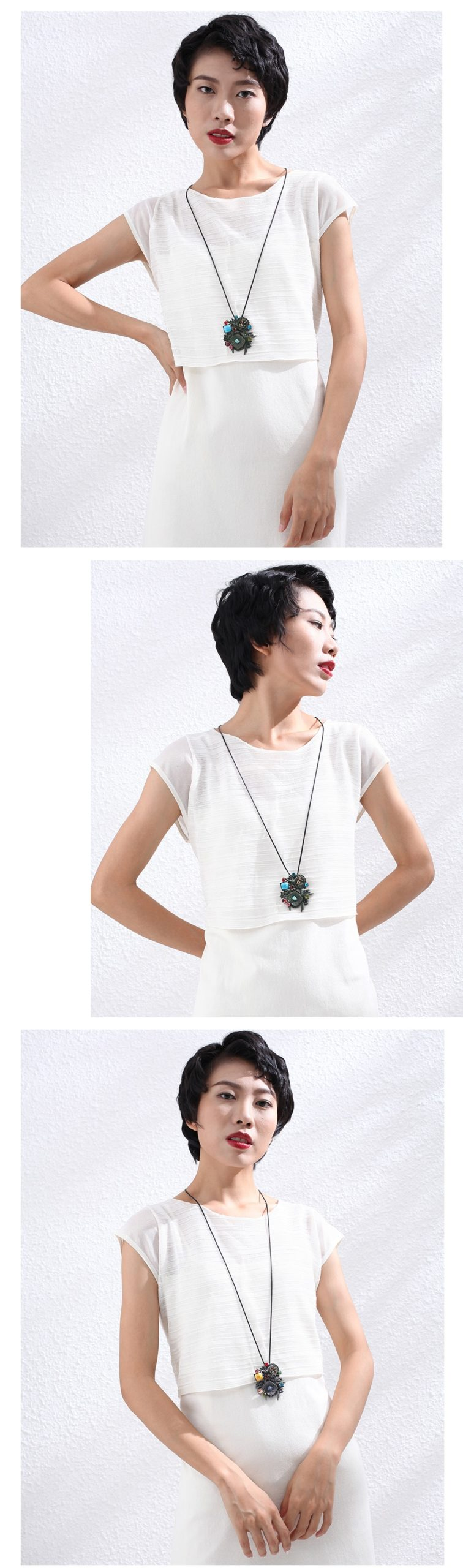 Long Necklace for Women Vintage Jewelry Stones Beads Flower Pendants Suspension Rope Chains Choker Wholesale Jewellery 2020 New