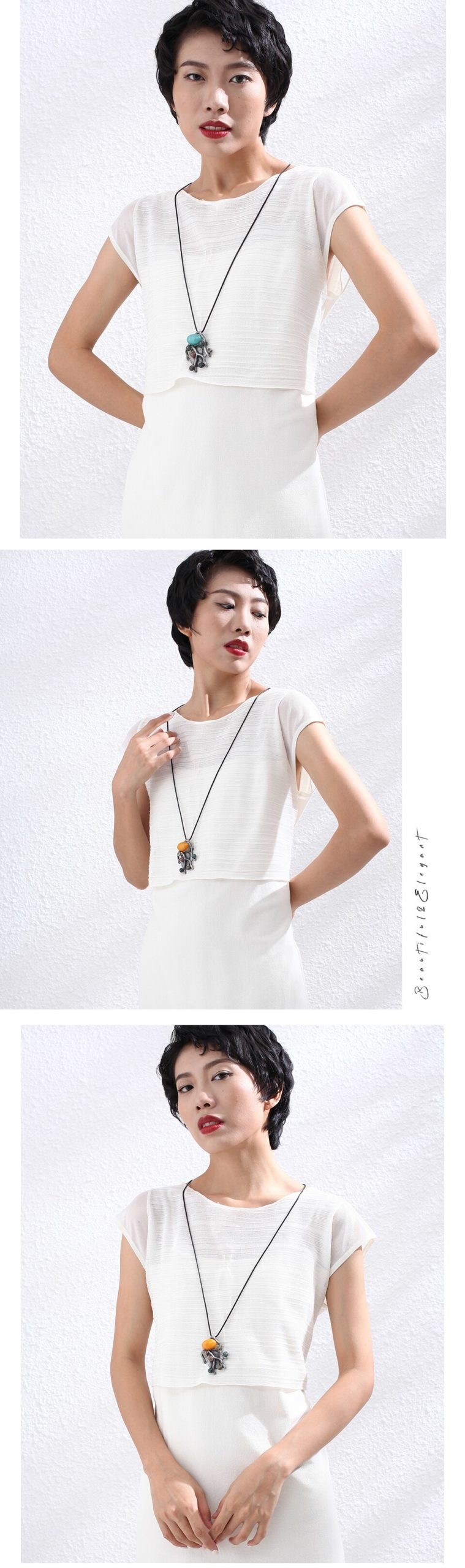 Branches Long Necklace for Women Vintage Plant  Jewelry Pendant Color Stone Beads Suspension Rope Chains Choker Jewellery 2020