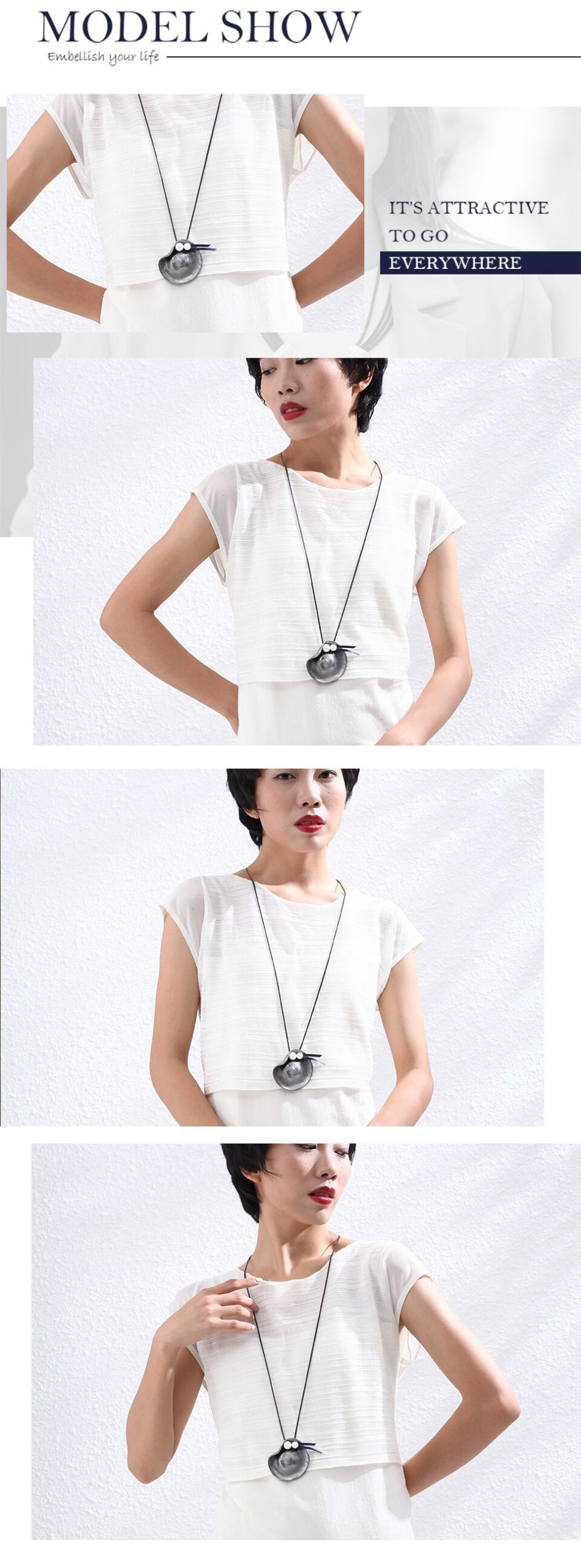 Hat Pendant Long Necklace for Women Vintage Jewelry White Beads Suspension Rope Chains Choker Wholesale Jewellery 2020 Hotsale