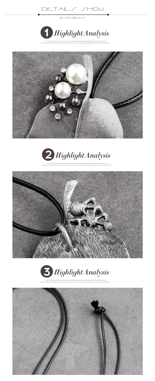 Vintage Leaf Necklaces Jewelry for Women Rope Chain Pendant&Necklaces Metal Zinc Alloy Sweater Accessories Neck Decoration Charm