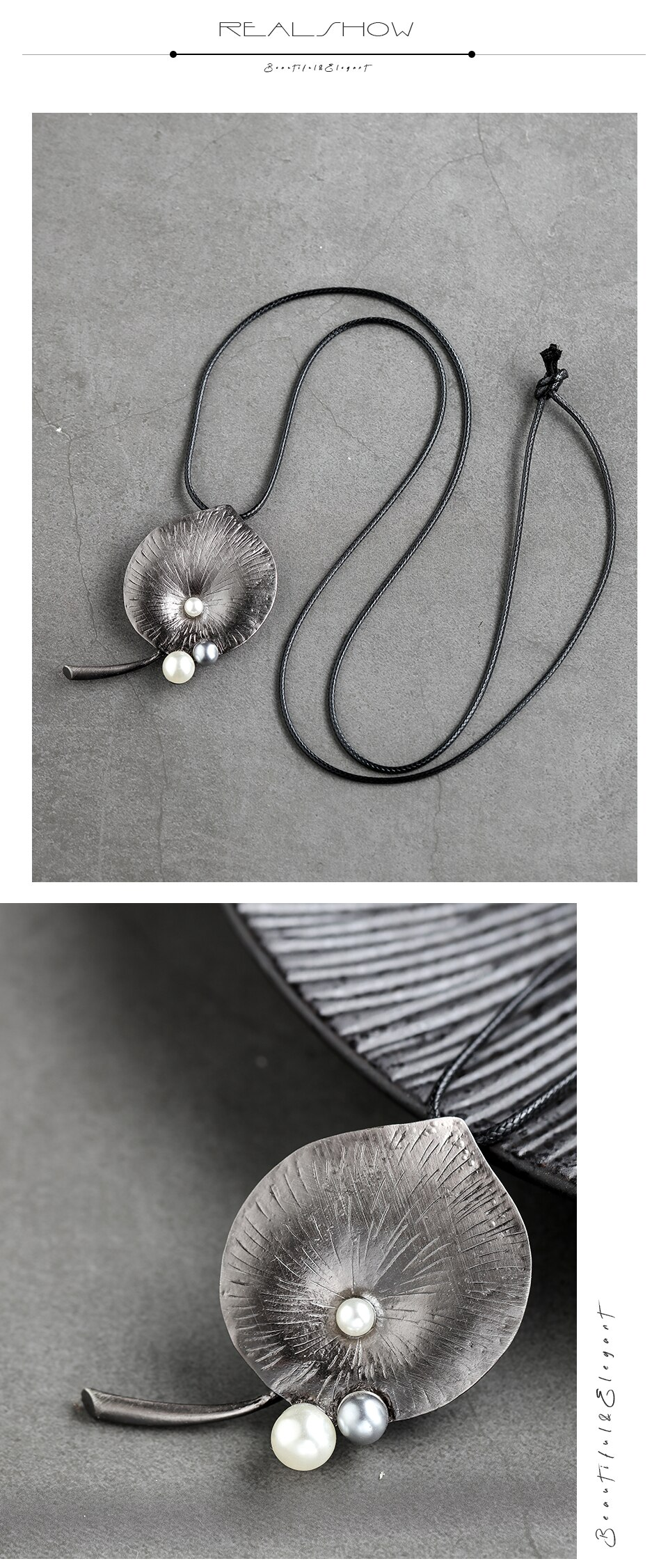 Handmade Jewelry  For Women Vintage Big Leaf Necklace Suspension Sweater Long Chain Simple Statement Female Clothes Accessories