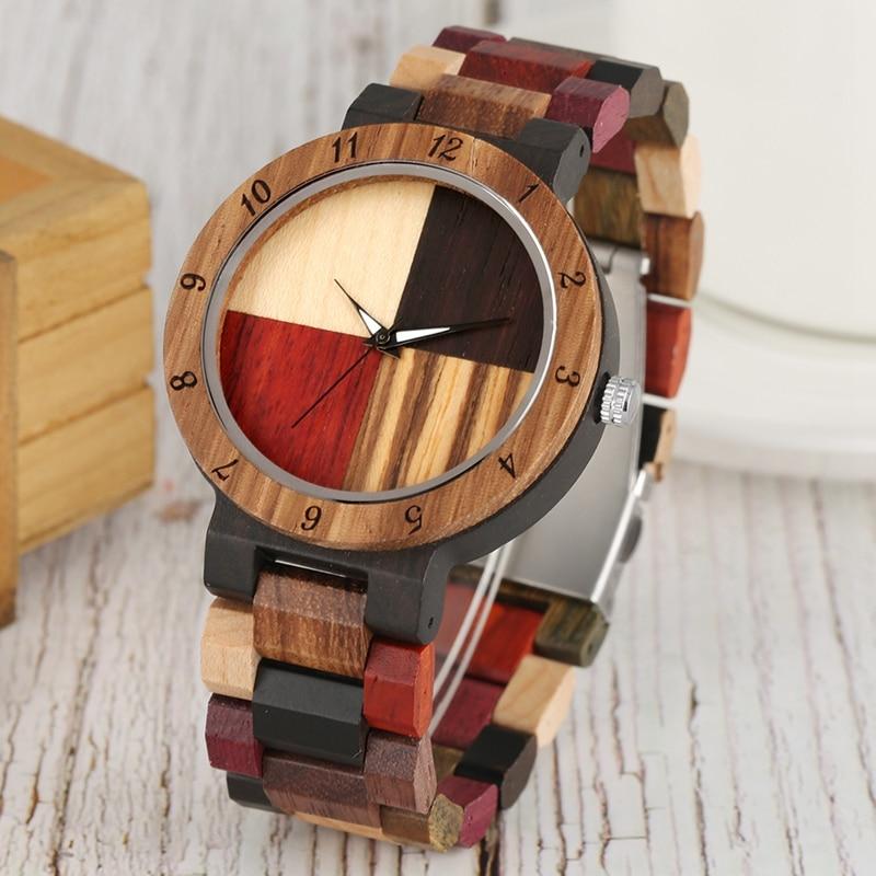 Fashion Watch Men's Watch Unique Mixed Color Splice Dial Quartz Full Wood Adjustable Band Quartz Wristwatch Clock Relojes Hombre