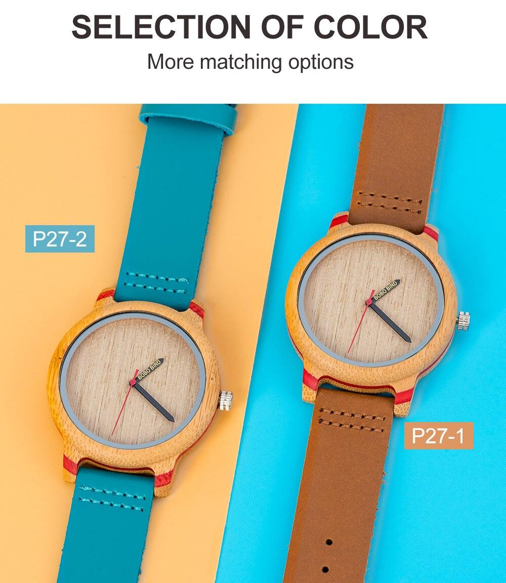 BOBO BIRD Wood Watch Men Bamboo Relogio Masculino Metal Ladies Wristwatch with Leather Band Silicone Strap Customized Logo