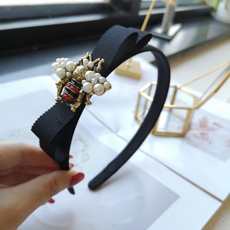 New Korea Bee Black Fabric Hairband Women Alloy Rhinestone Pearl Vintage Hair Accessories Bow Luxury Lady Headband Headdress