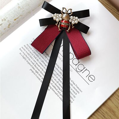 England Black Ribbon Bee Bowknot Bow Ties Women Vintage Fashion Necktie OL Lady Shirt Collar Accessories Alloy Pearl Bees 2020