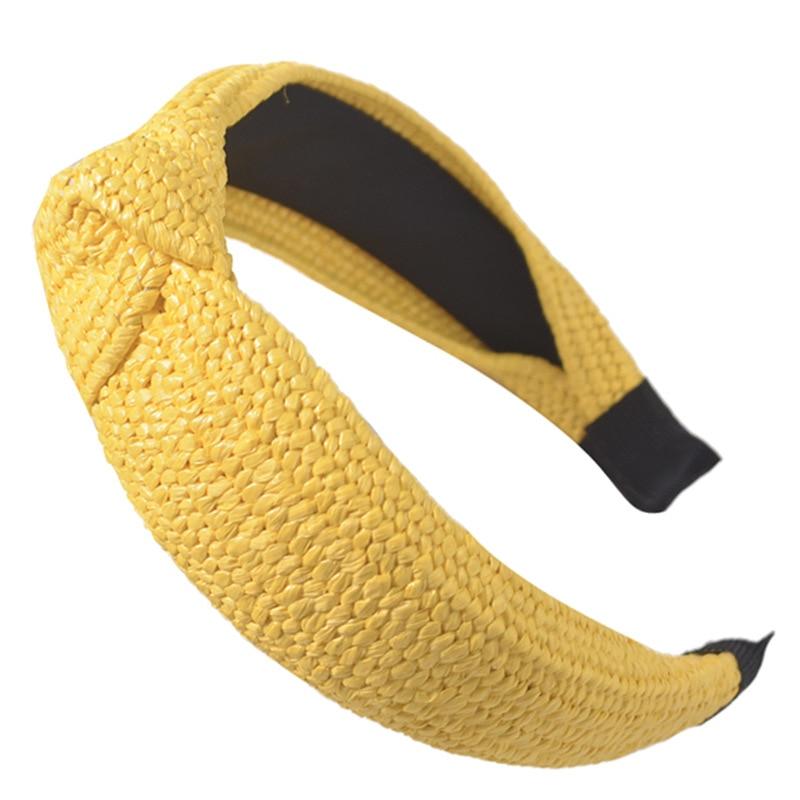 2020 New Bohemian Hairband Straw Weaving Knotted Headband For Women Girls Cross Handmade Hair Hoop Hairband Hair Accessories