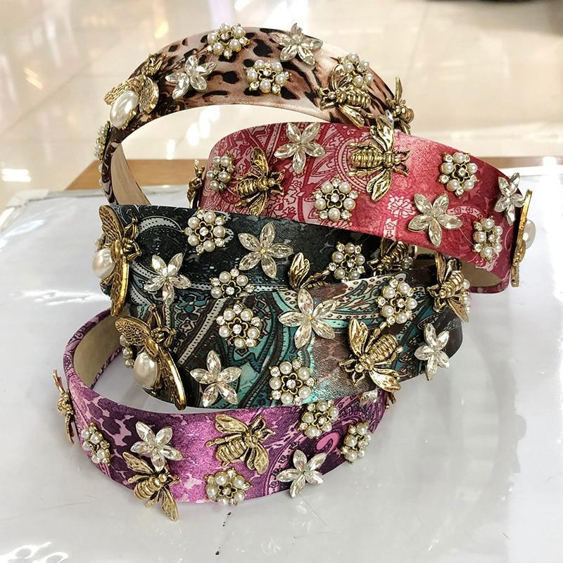 Baroque Leopard Big Coloed Rhinestone Headband Hairband for Women Girls Hair Accessories
